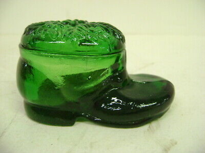 Antique Green Glass Shoe Ink Well