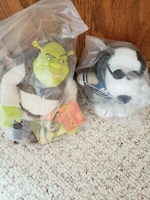 "Shrek 2 Plush Ogre, Vintage 2004,and MetLife Promo ""Peanuts"" Snoopy W/Sunglasses"
