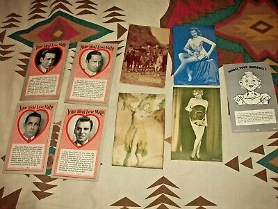9 Original Vintage Exhibit Supply, Mutoscope 1¢ Vending Cards Pinup Western etc