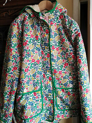 Mini Boden Girls Fur Lined Coat/ Floral Design/ Age 11-12 Years/ Excellent Cond