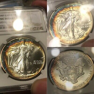 1989 Ngc Certified American Silver Eagle S$1 Unc Details ****Crescent Toned***