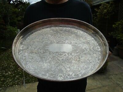 Vintage Antique Silver Plate On Copper Sheffield Teaset Oval Serving Tray