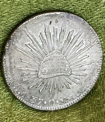 1837 Zs OM Mexico 8 Reales Zacatecas Mint Silver Coin.