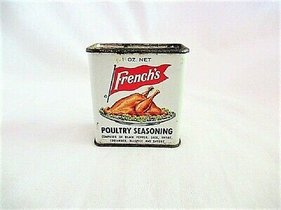 Vtg French's Chicken Turkey Poultry Seasoning Metal Litho Spice Tin Advertising