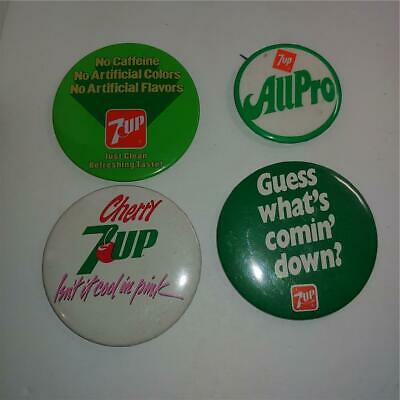 LOT 4 Vintage 7 up Buttons Advertising Pins Cherry Guess What's Coming Down