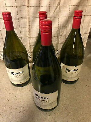"EMPTY RIUNITE WINE BOTTLES - 1.5L  13"" TALL - LOT of 4 WITH CAPS - WINE MAKING"