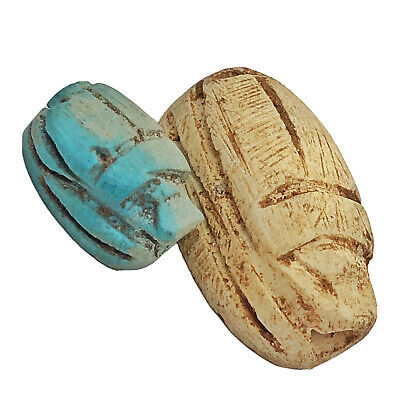 Ancient Egyptian Style Faience Clay Scarab Beads Bug Souvenir Appraised $100.00