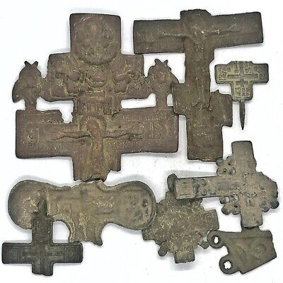 Medieval Byzantine & Post Middle Ages Cristian Cross Lot Artifacts Old Rare
