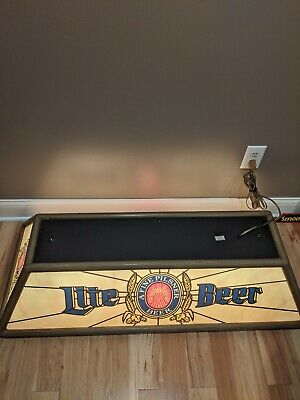 VINTAGE Miller Lite Beer Pool Table Light CLEAN Hanging Bar Sign 47""