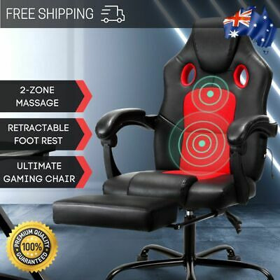 Artiss Massage Office Chair Gaming Computer Chairs Leather Recliner Racer Red