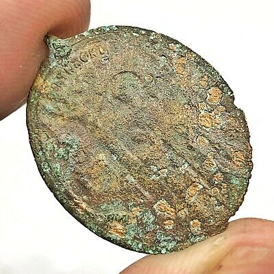 Medieval 800-1600 AD Religious Icon Relic Artifact Copper Pendant Christian Old