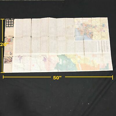 Vintage 1972 Mobil Travel Map Los Angeles and Vicinity Street Tour Map