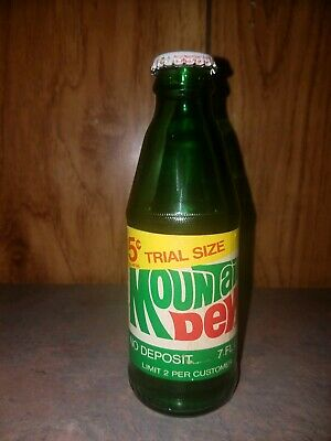 Vintage 7 oz 5 cent Trial size Mountain Dew Soda Bottle  Limit 2 per customer