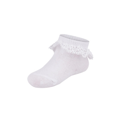 Baby Girls Toddlers 2 Pack Liner Frilly Lace Ruffle Socks White Age 0-3 Years