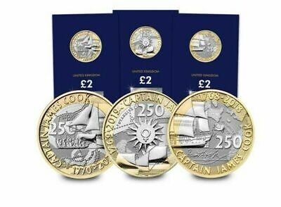 2020 Captain Cook BU £2 Two Pound Coin Set. All Three Coins 2018 2019 2020 BUNC