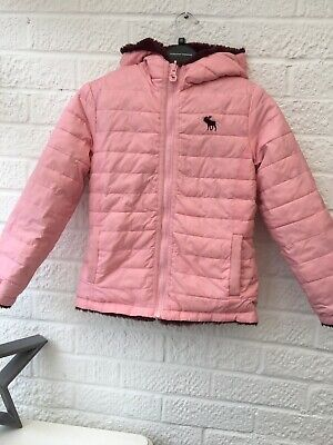 Girls Age 7/8 AbrcAnd Fitch Reversible Coat Navy Waterproof And Pink Fur