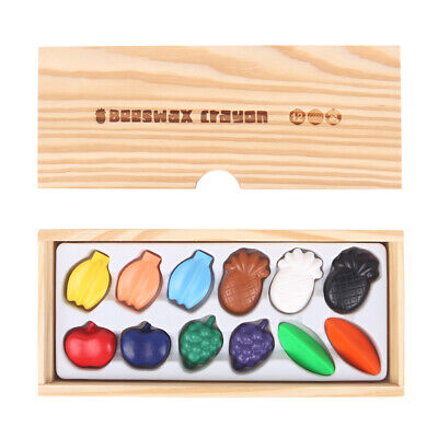Pure BEESWAX CRAYONS SET Colourful FRUIT Colouring Shaped Crayon Kids Drawing