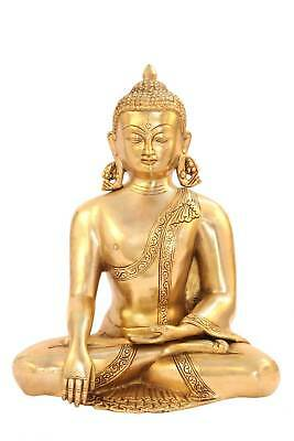 Earth Touching Bronze Buddha Brass Metal Statue Old Chinese Tibet Décor Art 13""