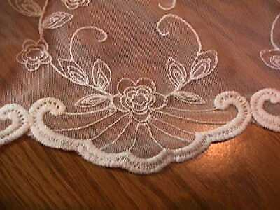 "2 White Embroidered Floral Lace Valance Scalloped Curtains Rod Pocket 108"" X 17"""