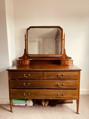 Antique Mahogany Victorian Dressing Table with Mirror