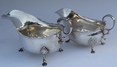 2 x English Silver Gravy / Sauce Boats 268gms