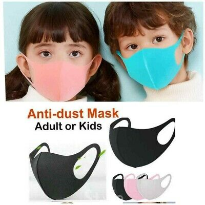 Children Face Mask Protective Covering Washable  Black Adult Unisex 3 - 12 Year