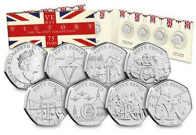 2020 75th Anniversary Victory VE DAY BU Seven x 50p Coin Set Sealed.