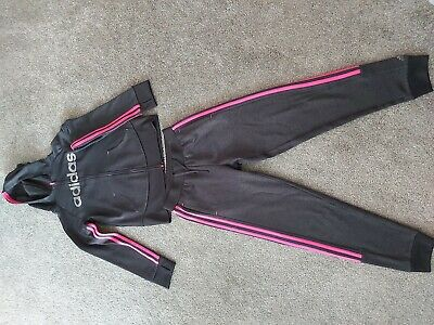 Girls Black And Pink Adidas Tracksuit Trousers & Matching Hooded Zip Jacket Top