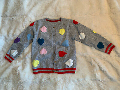 Mysterious Hut Girls Cotton Grey Heart Cardigan W/ Red Stripes Age 6. Gorgeous!