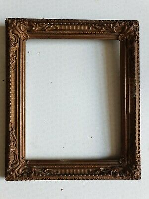 Antique Victorian Picture Frame To Restore rebate 20x35 cms overpainted gold lea