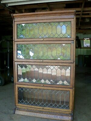 Antique Oak Barrister Bookcase Quartersawn Leaded Glass Gunn Furniture