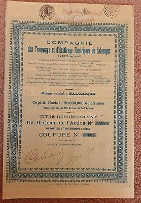 vintage Share Certificate - Tramways & Lighting Thessaloniki (Salonique) Greece