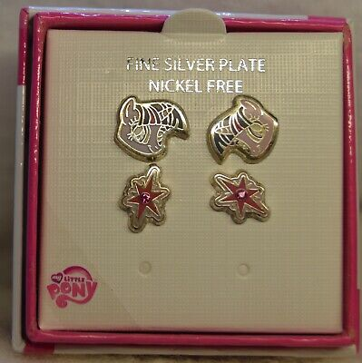 My little Pony Earrings New in Box 2 Pair Silver Plated Nickle Free
