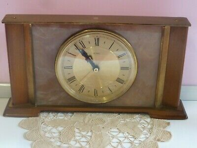 VINTAGE METAMEC MANTLE CLOCK MADE IN ENGLAND RETRO 1950's ONYX BRASS BATTERY OLD