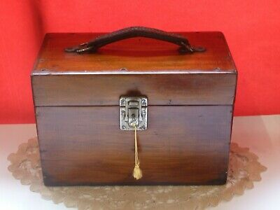 Antique Wooden Trunk Wooden Box Glass Jars Pharmacy Scientific British Made Old