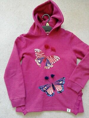 Girls Deep Pink MANTARAY Hooded Butterfly Jumper Age 9-10 Years