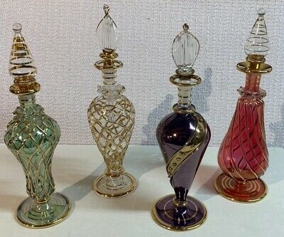 Egyptian Glass Perfume Bottles - Set of 4 - Unique