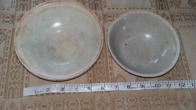 2 primitive crackle ware,pottery 18th 19th century chinese bowls