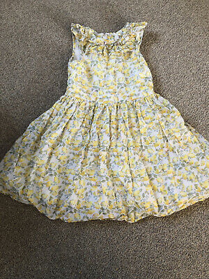 Girls Next Summer Dress With Zip Back Lemon Pattern Age 5 Great Condition