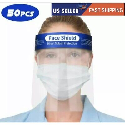 50 pcs Safety Full Face Shield Guard Protector Mask Clear+Head Band Elastic US