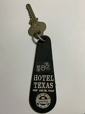 "Hotel Texas- Motel Room Key Fob with Key Fort Worth Texas "" VERY OLD """