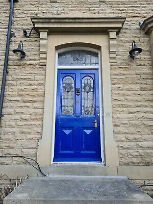Large Victorian Front Door With Stained Glass Panels & Fanlight (Circa 1880)