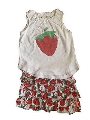 Hatley Strawberries Sweet 2 Piece Top Vest and Ruffle Skirt Age 4 .