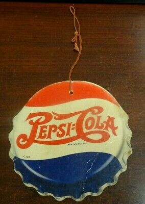 Vintage Pepsi Cola Fan Pull Sign