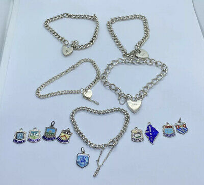 Vintage Job Lot Of 5 Sterling Silver 925 Bracelets And  Charms 69g
