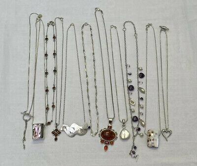 Job Lot Of 11 Vintage Silver 925 Necklaces 102g