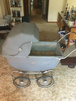Vintage Stockline Baby Canopy Baby Stroller Carriage Green *Rare*