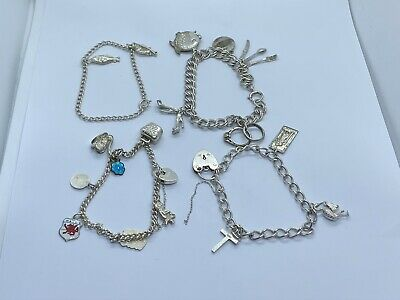 Job Lot Of 4 Vintage Sterling Silver 925 Bracelet With Charms 58g