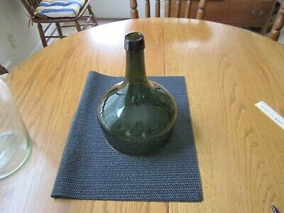 "French green antique Demijohn Cloche Wine Bottle 7 1/2 wide 11"" Tall"