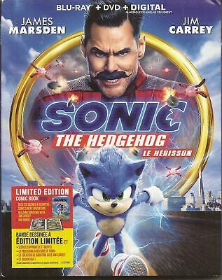SONIC THE HEDGEHOG BLU-RAY + DVD COMBO w/ SLIPCOVER + LTD ED COMIC BOOK NEW 2020